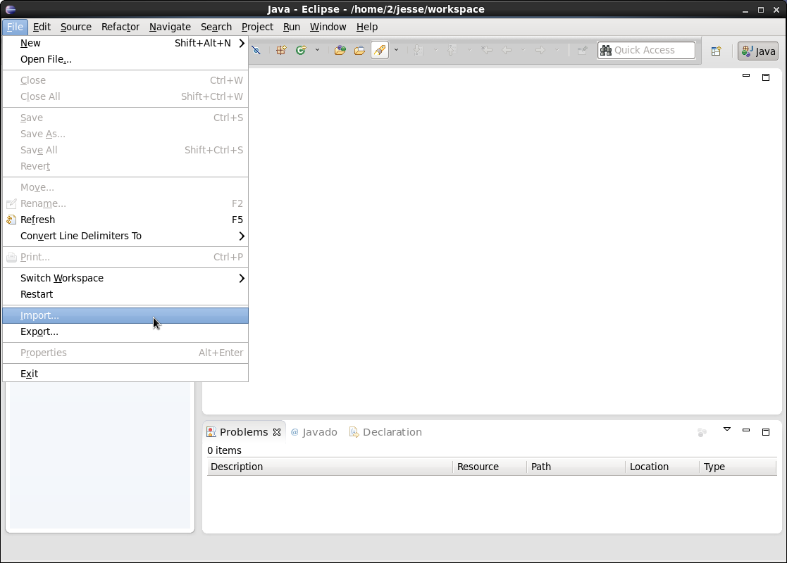 Importing Projecttemplate